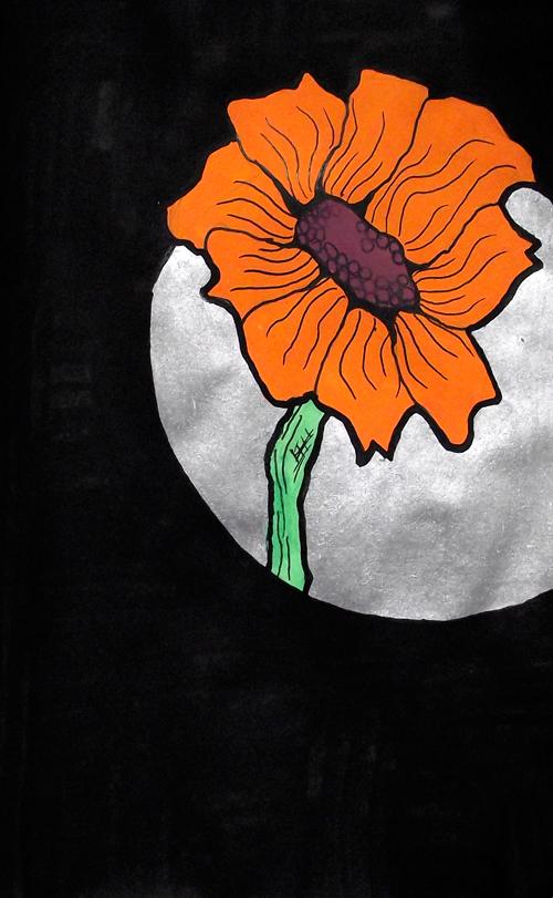 orange-silver-flower